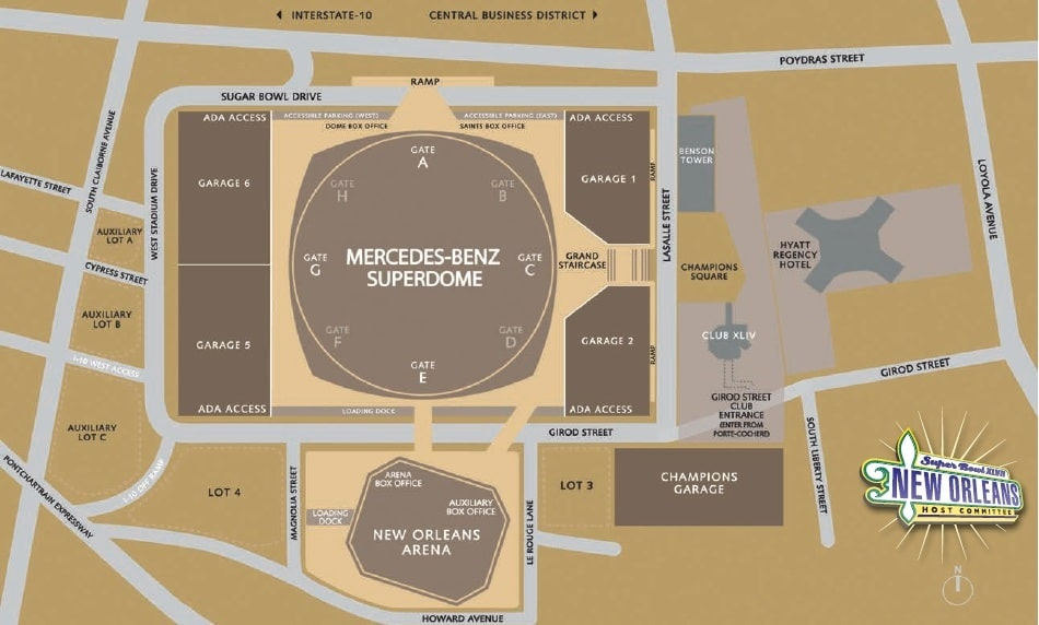 Super bowl 2013 parking tips superdome in new orleans for Mercedes benz superdome parking pass
