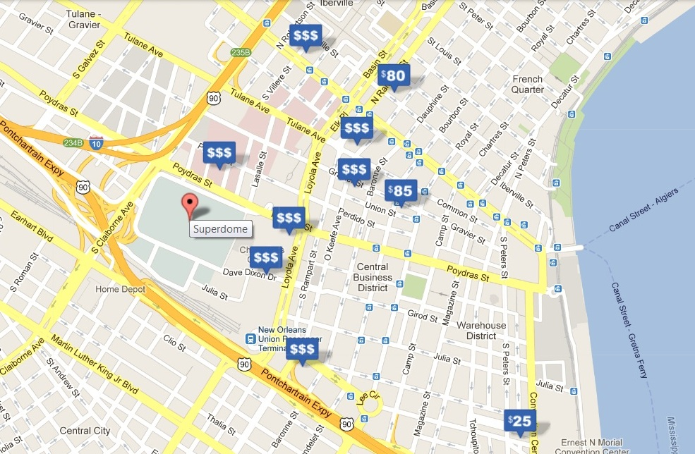 Super bowl 2013 parking tips superdome in new orleans for Hotels by mercedes benz superdome